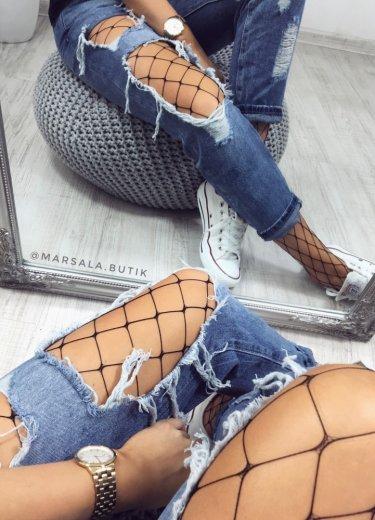 Spodnie BOYFRIENDY z dziurami + kabaretki