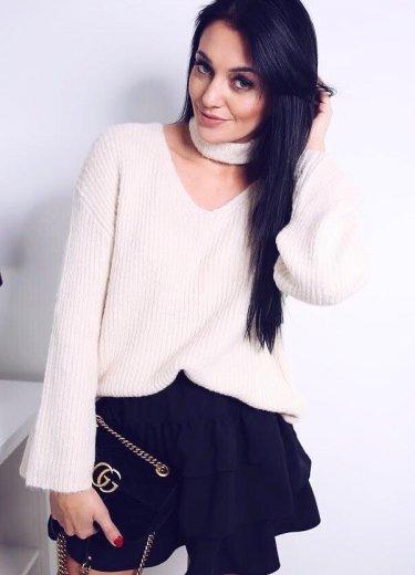 Sweter z opaską - ecru
