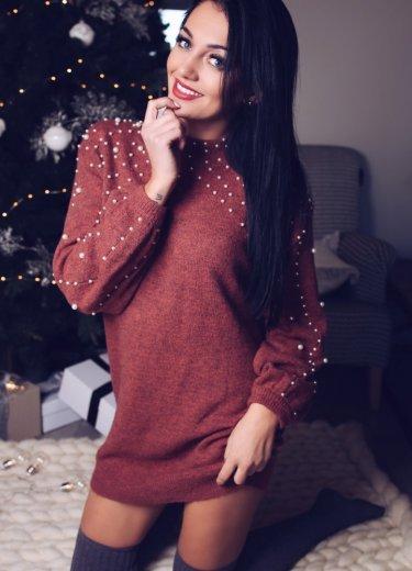 Sweter DŁUGI SKY z perełkami ceglany