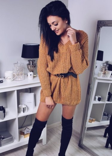 Sweter AVENUE OVERSIZE - musztardowy z nitką
