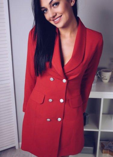 Sukienka ŻAKIETOWA - czerwona