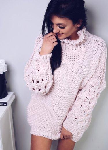 Sweter FEVER - pudrowy róż