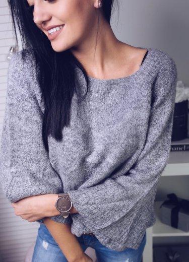 Sweter z rozszerzanymi rekawami - szary