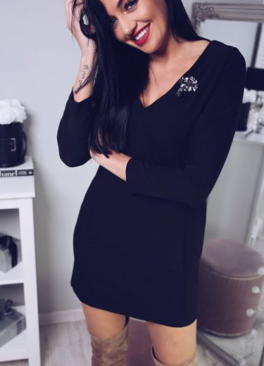 Sukienka MODENA z BROSZKĄ - czarna