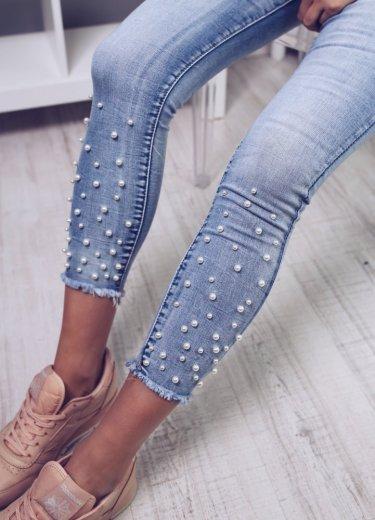 Spodnie z perełkami - jasny dżins