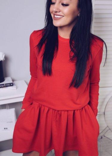 Sukienka dresowa LEYLA - czerwona