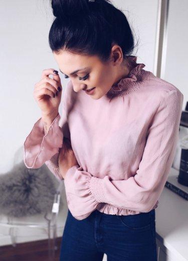Bluzka LOLI szyfonowa z gumka - róż
