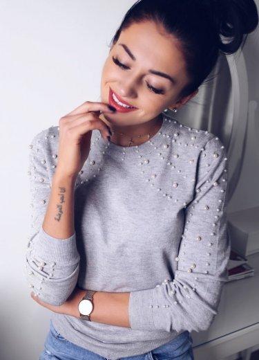 Sweterek FILO z perełkami szary