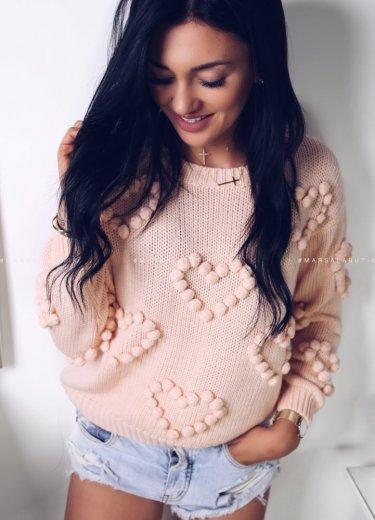 Sweterek HEART - brzoskwiniowy