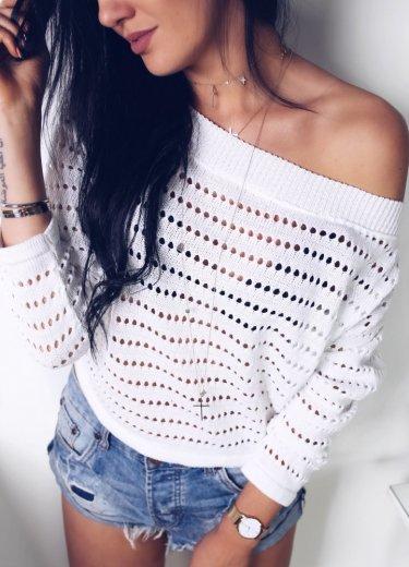 Ażurowy sweterek w kolorze białym - FOGO