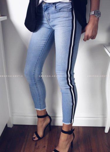 Spodnie Jeansowe z czarnym lampasem