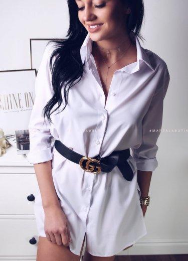 Klasyczna, długa biała koszula - PRENDA