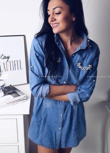 Koszula długa jeansowa z perłami - MANLY