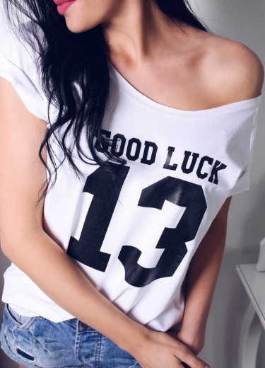 T-shirt GOOD LUCK bialy