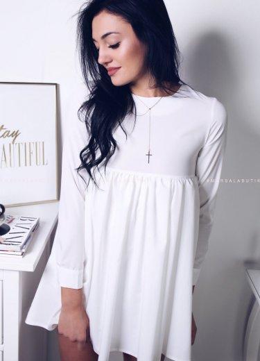 Sukienka z falbanką w kolorze białym - NATALY