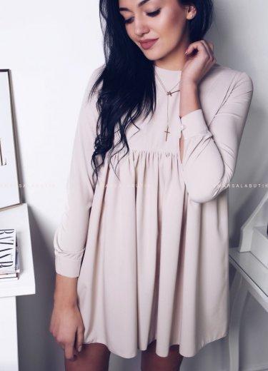 Sukienka z falbanką w kolorze beżowym - NATALY