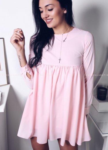 Sukienka z falbanką w kolorze pudrowym - NATALY
