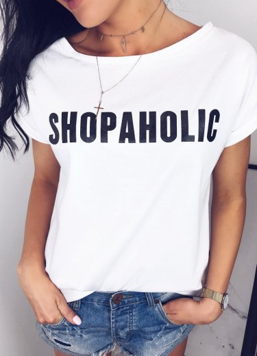 T-shirt biały SHOPAHOLIC