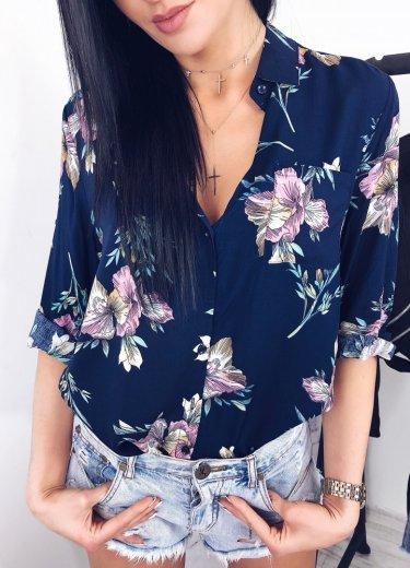 Koszula FLOR kwiaty granat
