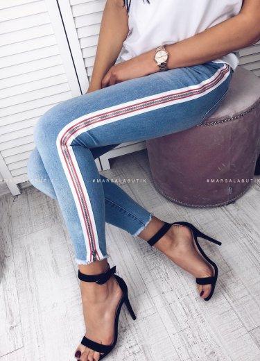 Spodnie Jeansowe z różowym lampasem