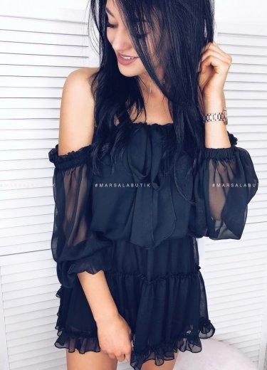 Sukienka o fasonie hiszpanki w kolorze czarnym -MALAGA