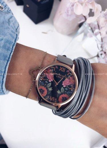 Zegarek z tarczą w kwiaty i szarym paskiem