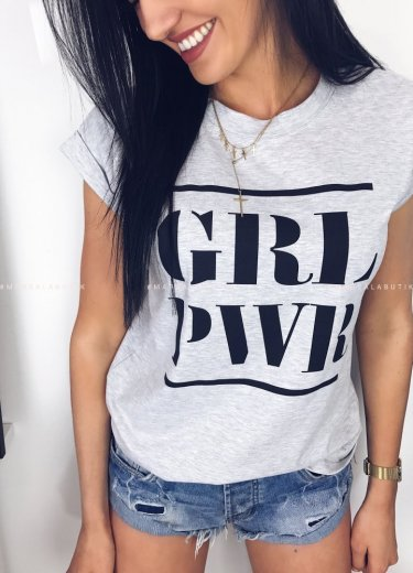 T-shirt GRL PWR szary