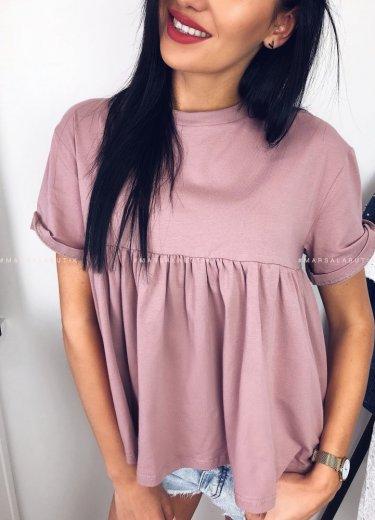 T shirt SALLY z falbanką w kolorze pudrowym