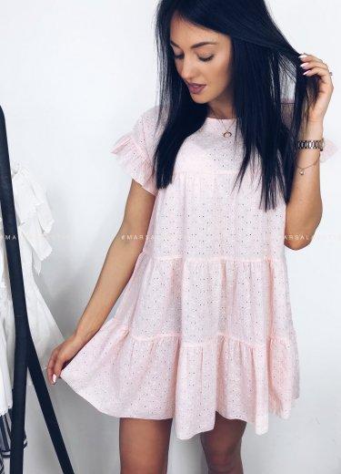 Sukienka ażurowa MELANIE puder