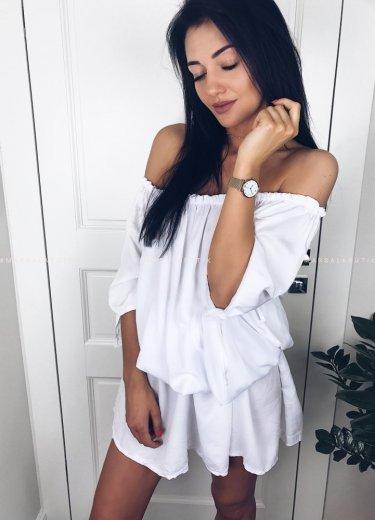 Sukienka MIDI z paskiem biala