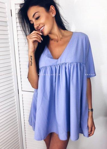Sukienka V rozkloszowana PASO blue violet
