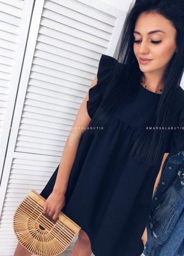 Sukienka z falbanką CHELSEA czarna