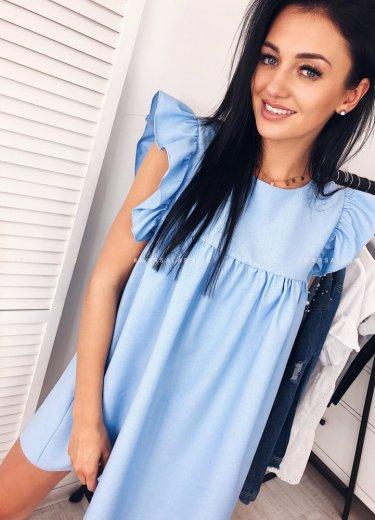 Sukienka z falbanką CHELSEA błękitna