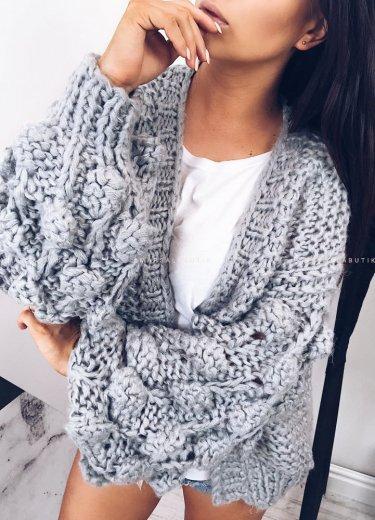 Sweter BUBBLE bąbelki szary