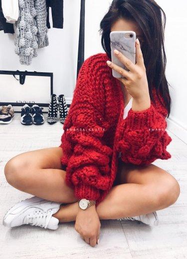 Sweter BUBBLE bąbelki czerwony