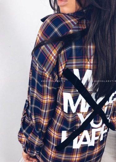 Koszula/tunika YOUNG w kratkę granatowo-brązową