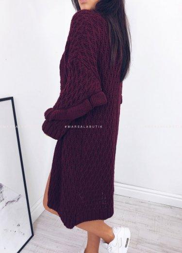 Sweter/kardigan CUSHY w kolorze bordowym