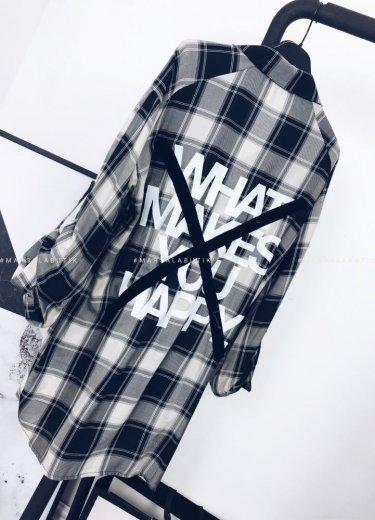 Koszula/tunika YOUNG w kratkę czarno-biała
