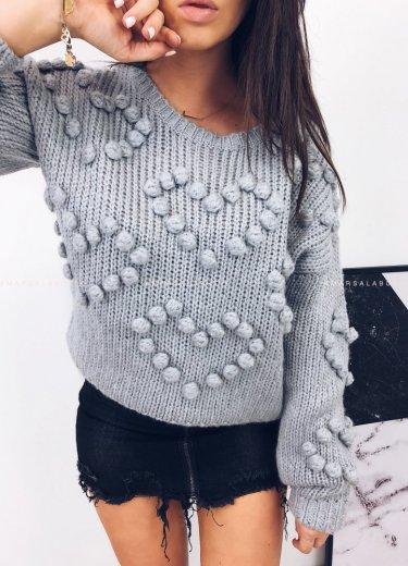 Sweterek HEART serca szary