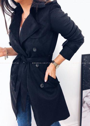 Płaszcz zamszowy ARIZONA w kolorze czarnym
