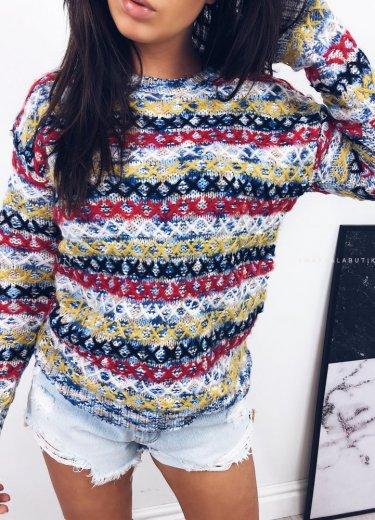 Sweterek z przeszyciami ADRIEN - błękit