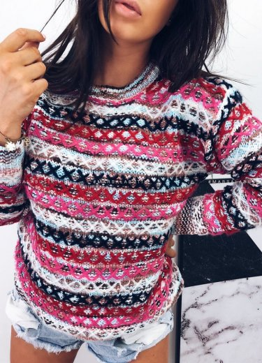 Sweterek z przeszyciami ADRIEN - róż