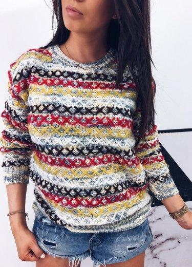 Sweterek z przeszyciami ADRIEN - beż