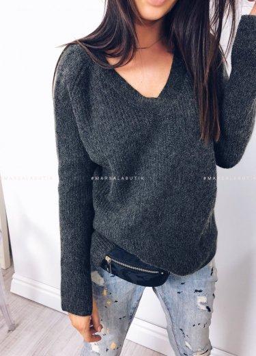 Sweterek V zielony - NIEVE