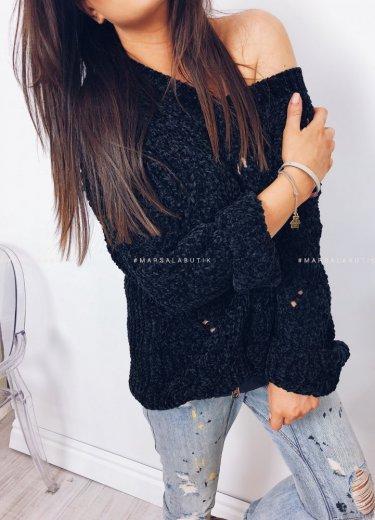 Sweter PERLA z szenili czarny