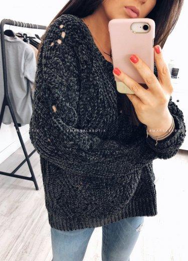 Sweter PERLA z szenili ciemny khaki