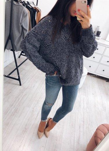 Sweter PERLA z szenili srebrzysty szary