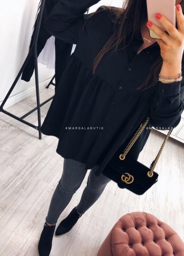 Koszula JANET z baskinką czarna