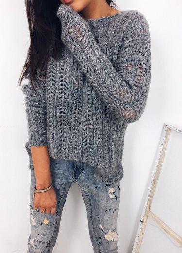 Sweterek SCOTS jodełka szary