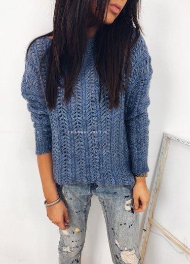 Sweterek SCOTS jodełka niebieski